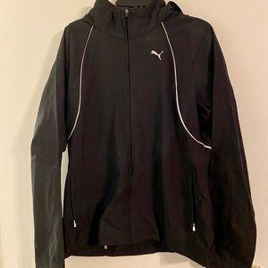 Puma black athletic hooded jacket Large